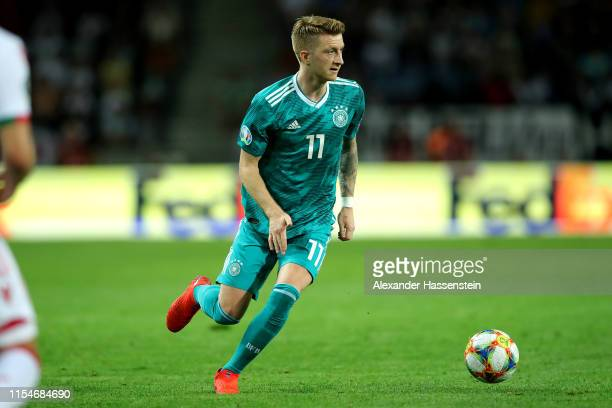 Marco Reus of Germany runs with the ball during the UEFA Euro 2020 qualifier match between Belarus and Germany at BorisovArena on June 08 2019 in...