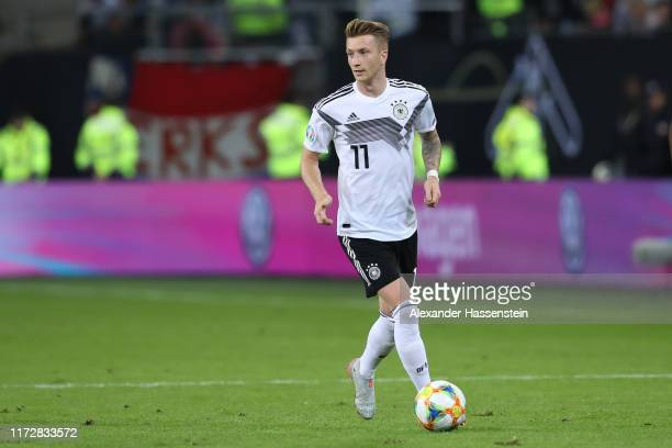 Marco Reus of Germany runs with the ball during the UEFA Euro 2020 qualifier match between Germany and Netherlands at Volksparkstadion on September...