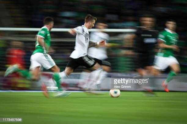 Marco Reus of Germany runs with the ball during the UEFA Euro 2020 qualifier match between Northern Ireland and Germany at Windsor Park on September...