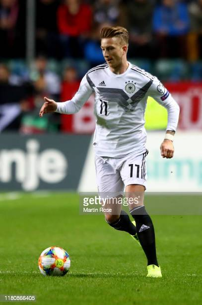 Marco Reus of Germany runs with the ball during the UEFA Euro 2020 qualifier between Estonia and Germany at ALe Coq Arena on October 13 2019 in...