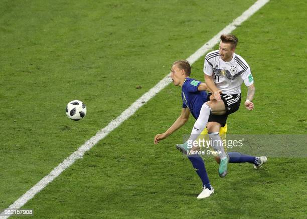 Marco Reus of Germany scores his team's first goal during the 2018 FIFA World Cup Russia group F match between Germany and Sweden at Fisht Stadium on...