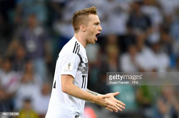 Marco Reus of Germany scores his team's first goal to make it 11 during the 2018 FIFA World Cup Russia group F match between Germany and Sweden at...