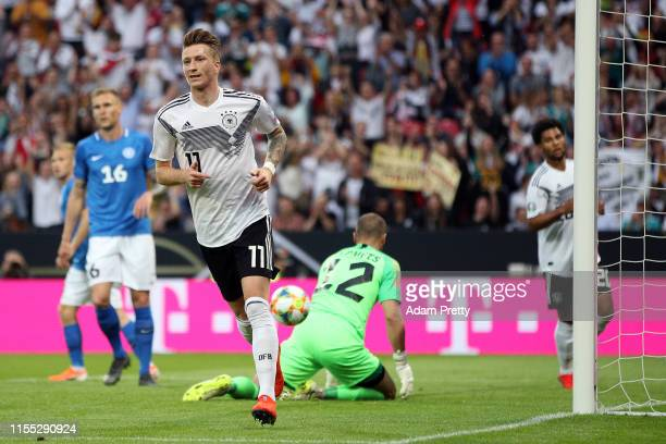 Marco Reus of Germany turns to celebrate after scoring the opening goal during the UEFA Euro 2020 Qualifier match between Germany and Estonia at Opel...