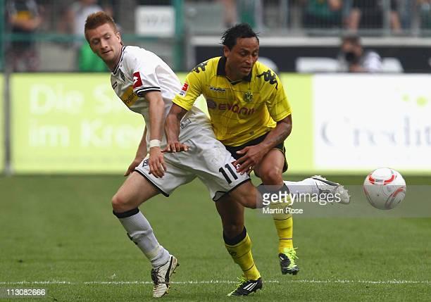 Marco Reus of Gladbach and Antonio da Silva of Dortmund battle for the ball during the Bundesliga match between Borussia Moenchengladbach and...