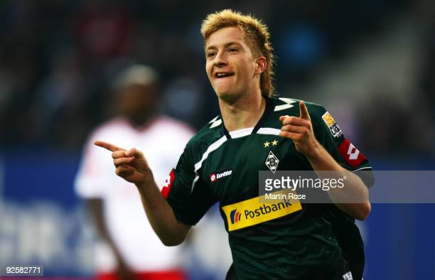 Marco Reus of Gladbach celebrates after he scores his team's 1st goal the Bundesliga match between Hamburger SV and Borussia M'gladbach at the HSH...