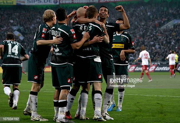 Marco Reus of Gladbach celebrates scoring the first goal with his team during the Bundesliga match between Borussia M'gladbach and FSV Mainz 05 at...
