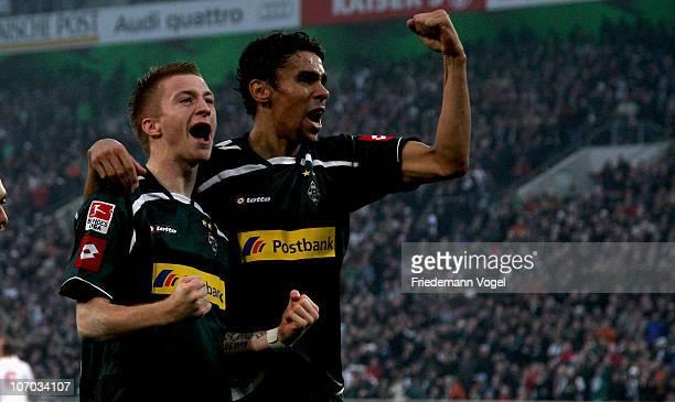 Marco Reus of Gladbach celebrates scoring the first goal with Igor de Camargo during the Bundesliga match between Borussia M'gladbach and FSV Mainz...