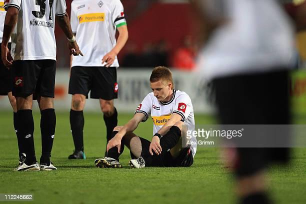 Marco Reus of M'Gladbach reacts after the Bundesliga match between FSV Mainz 05 and Borussia M'gladbach at Bruchweg Stadium on April 15 2011 in Mainz...