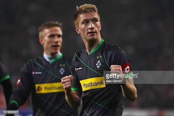 Marco Reus of Moenchengladbach celebrates his team's second goal during the Bundesliga match between VfB Stuttgart and Borussia Moenchengladbach at...
