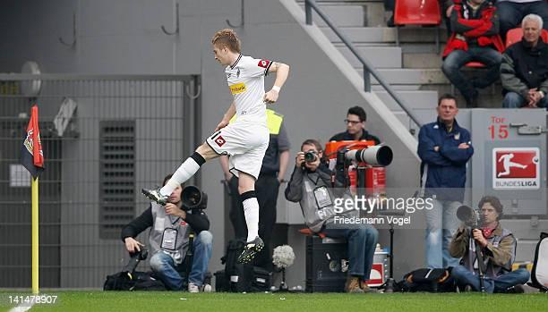Marco Reus of Moenchengladbach celebrates scoring the first goal during the Bundesliga match between Bayer 04 Leverkusen and Borussia...