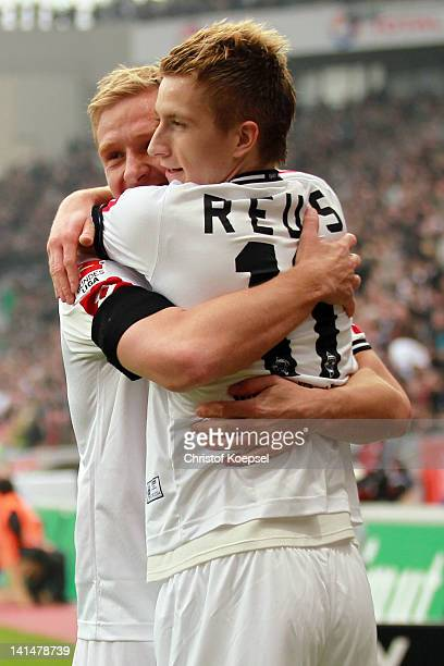 Marco Reus of Moenchengladbach celebrates the first goal with Mike Hanke during the Bundesliga match between Bayer 04 Leverkusen and Borussia...