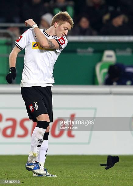 Marco Reus of Moenchengladbach looks dejected after the Bundesliga match between VfL Wolfsburg and Borussia Moenchengladbach at the Volkswagen Arena...