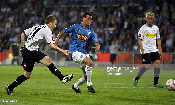Marco Reus of Moenchengladbach scores his teams first goal during the Bundesliga play off second leg match between VfL Bochum and Borussia...
