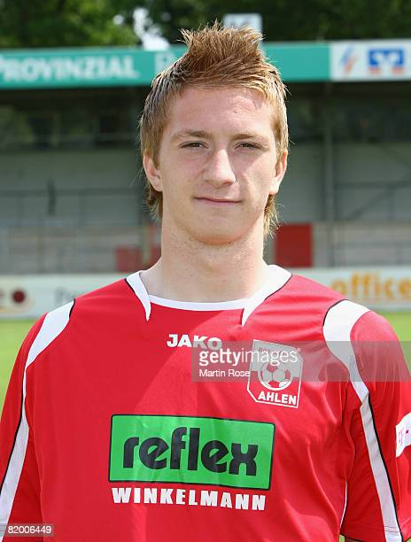 Marco Reus poses during the Bundesliga 2nd Team Presentation of RW Ahlen at the Werse stadium on July 19 2008 in Ahlen Germany