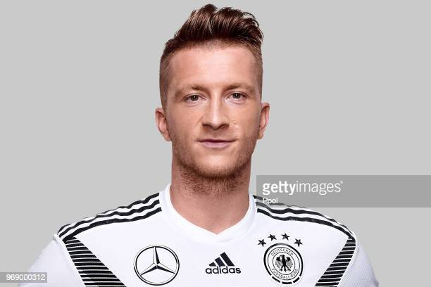 Marco Reus poses for a photo during a portrait session ahead of the 2018 FIFA World Cup Russia at Eppan training ground on June 5 2018 in Eppan Italy