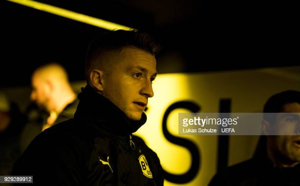 Marco Reus waits in the player tunnel to enter the pitch prior to the UEFA Europa League Round of 16 match between Borussia Dortmund and FC Red Bull...