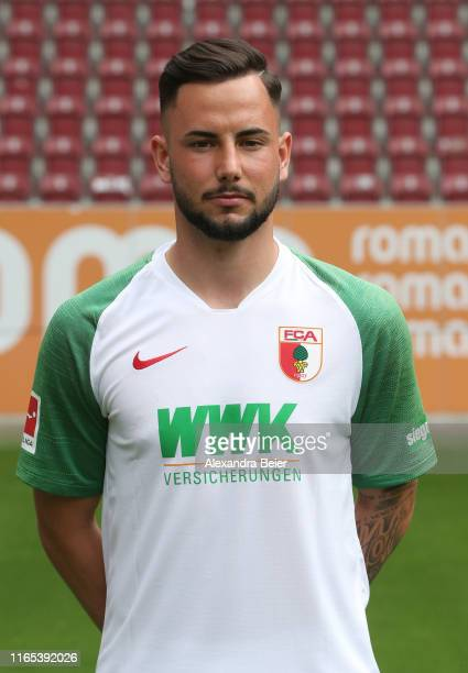 Marco Richter of FC Augsburg poses during the team presentation at WWK-Arena on July 31, 2019 in Augsburg, Germany.