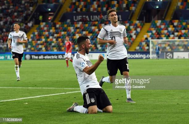 Marco Richter of Germany celebrates after scoring his team second goal during the 2019 UEFA U21 Group B match between Germany and Denmark at Stadio...