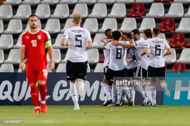 Marco Richter of Germany celebrates after scoring his team's first goal with team mates during the 2019 UEFA U-21 Group B match between Germany and...