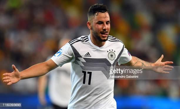 Marco Richter of Germany celebrates after scoring his team's second goal during the 2019 UEFA U21 Group B match between Germany and Denmark at Stadio...