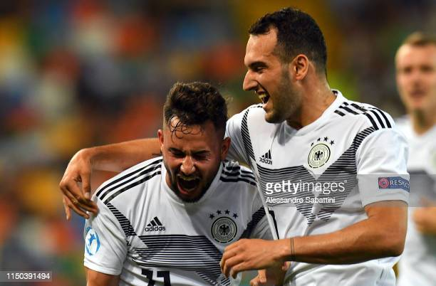 Marco Richter of Germany celebrates after scoring the opening goal during the 2019 UEFA U21 Group B match between Germany and Denmark at Stadio...