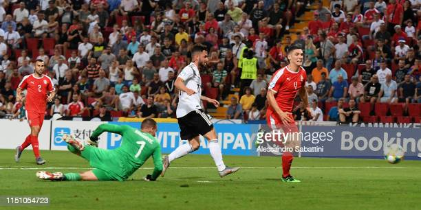 Marco Richter of Germany scores the opening goal during the 2019 UEFA U-21 Group B match between Germany and Serbia at Stadio Nereo Rocco on June 20,...