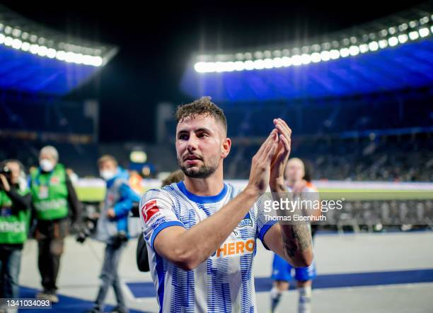 Marco Richter of Hertha celebrates after the Bundesliga match between Hertha BSC and SpVgg Greuther Fürth at Olympiastadion on September 17, 2021 in...