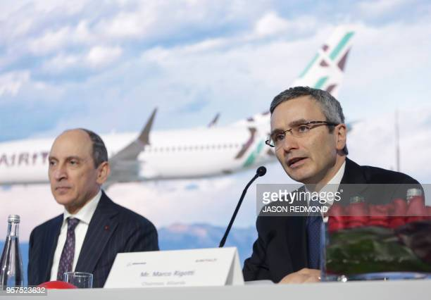 Marco Rigotti Chairman of Alisarda speaks as Akbar Al Baker Qatar Airways Group Chief Executive listens during a press conference as Boeing...