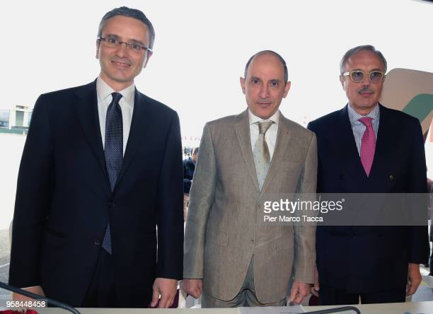 Marco Rigotti President of Alisarda Akbar Al Baker CEO of Qatar airways and Francesco Violante President of Air Italy attend the unveiling of Air...