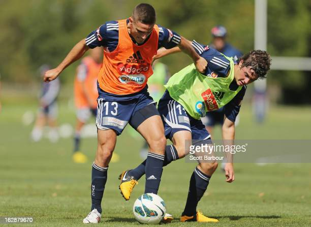 Marco Rojas and Diogo Ferreira of the Victory compete for the ball during a Melbourne Victory ALeague training session at Gosch's Paddock on March 1...