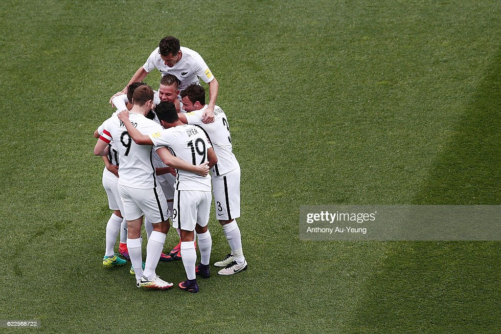 Marco Rojas of New Zealand is mobbed by teammates after scoring the second goal during the 2018 FIFA World Cup Qualifier match between the New Zealand All Whites and New Caledonia at QBE Stadium on November 12, 2016 in Auckland, New Zealand.