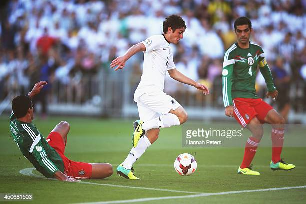 Marco Rojas of New Zealand makes a break during leg 2 of the FIFA World Cup Qualifier match between the New Zealand All Whites and Mexico at Westpac...