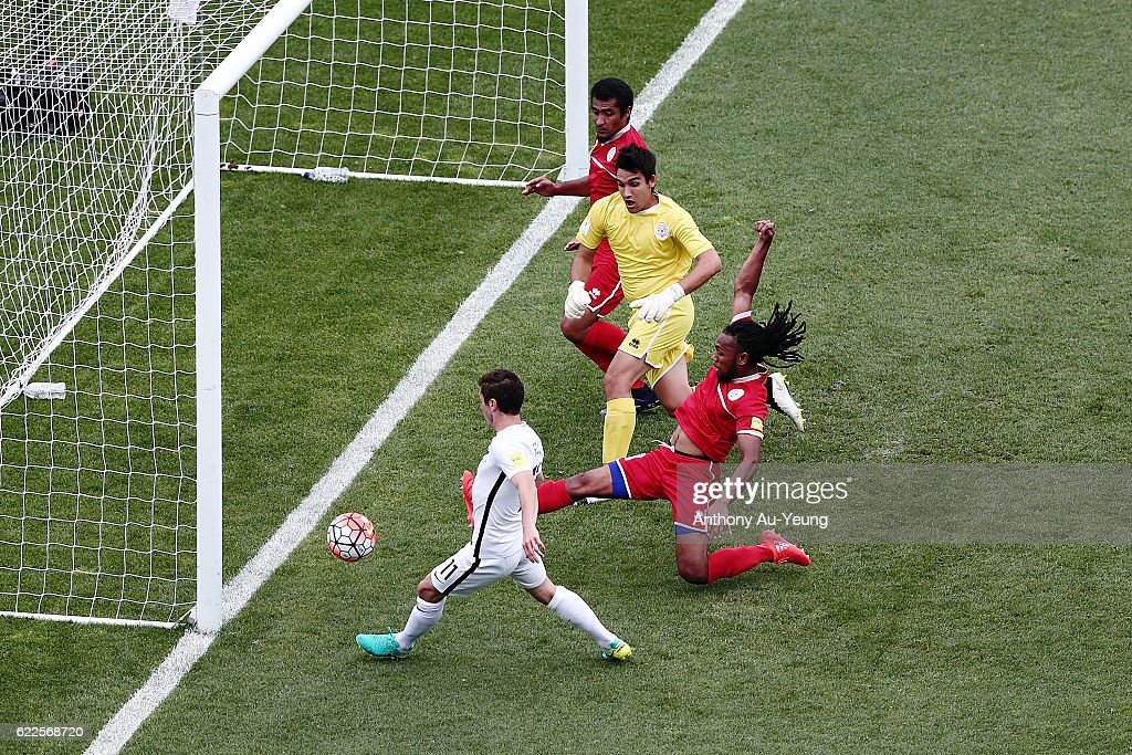 Marco Rojas of New Zealand scores the second goal during the 2018 FIFA World Cup Qualifier match between the New Zealand All Whites and New Caledonia at QBE Stadium on November 12, 2016 in Auckland, New Zealand.