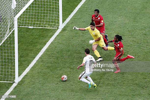 Marco Rojas of New Zealand scores the second goal during the 2018 FIFA World Cup Qualifier match between the New Zealand All Whites and New Caledonia...