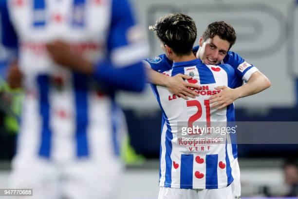Marco Rojas of SC Heerenveen celebrates 10 with Yuki Kobayashi of SC Heerenveen during the Dutch Eredivisie match between SC Heerenveen v ADO Den...