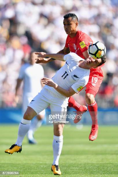Marco Rojas of the All Whites controls the ball from Yoshimar Yotun of Peru during the 2018 FIFA World Cup Qualifier match between the New Zealand...