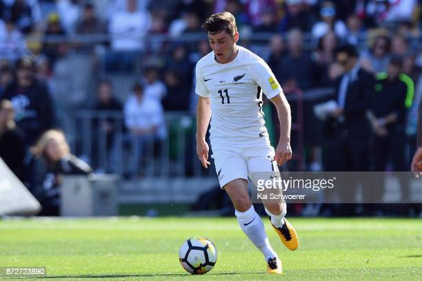 Marco Rojas of the All Whites makes a break during the 2018 FIFA World Cup Qualifier match between the New Zealand All Whites and Peru at Westpac...