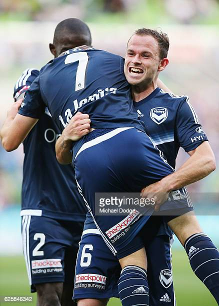 Marco Rojas of the Victory celebrates a goal as he gets lifted by Leigh Broxham of the Victory during the round eight ALeague match between Melbourne...