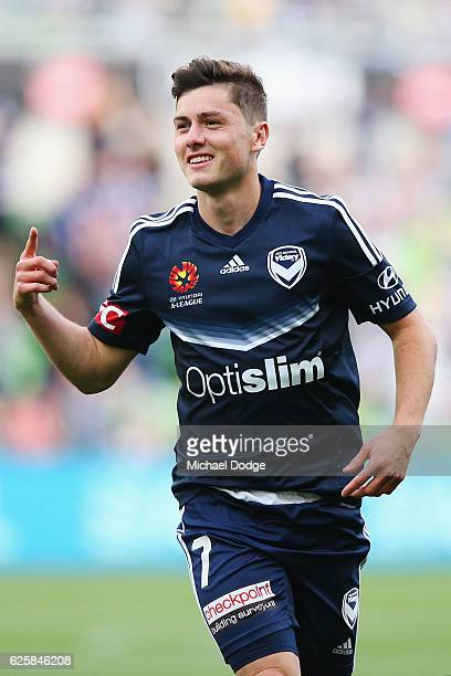Marco Rojas of the Victory celebrates a goal during the round eight ALeague match between Melbourne Victory and the Newcastle Jets at AAMI Park on...