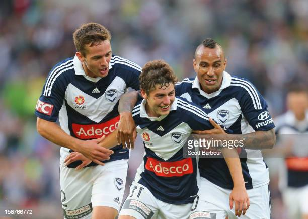 Marco Rojas of the Victory celebrates after he scored the first goal with Archie Thompson during the round 13 ALeague match between the Melbourne...