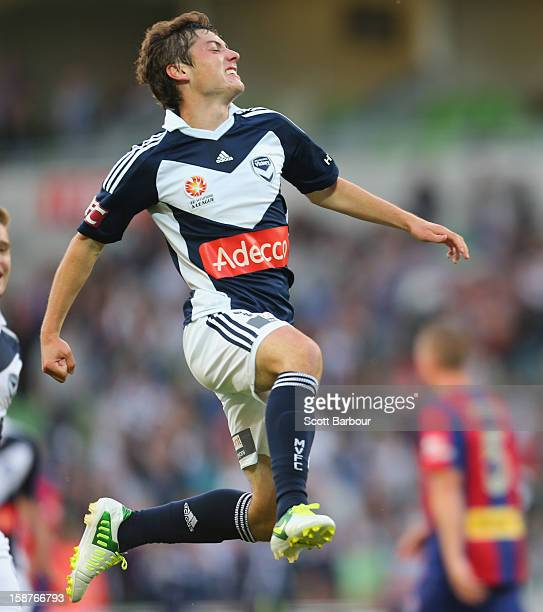 Marco Rojas of the Victory celebrates after he scored the first goal during the round 13 ALeague match between the Melbourne Victory and the...