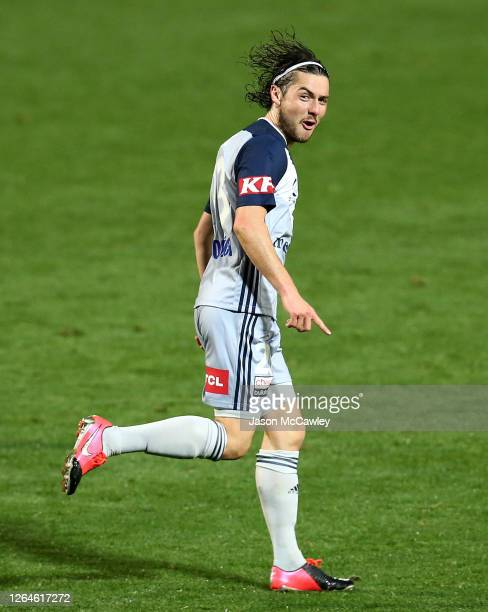 Marco Rojas of the Victory celebrates after scoring a goal during the round 25 A-League match between the Perth Glory and the Melbourne Victory at...