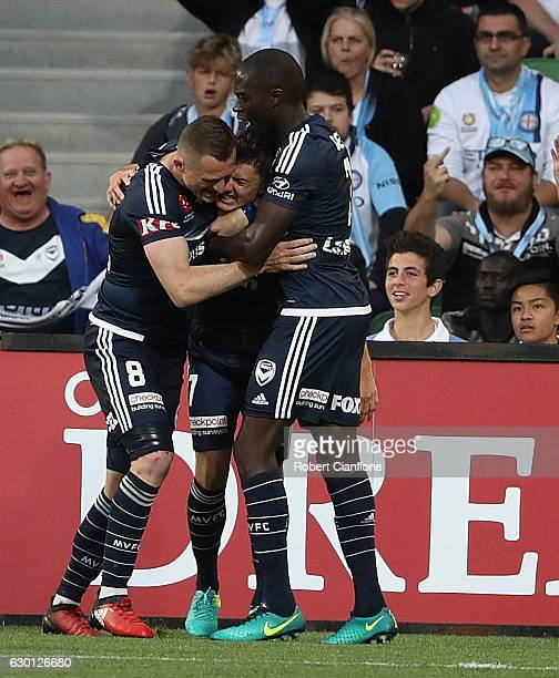 Marco Rojas of the Victory celebrates after scoring a goal during the round 11 ALeague match between Melbourne City FC and Melbourne Victory at AAMI...