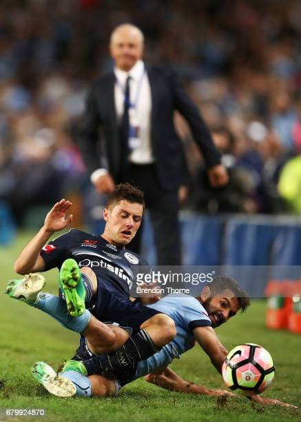 Marco Rojas of the Victory competes with Michael Zullo of Sydney during the 2017 ALeague Grand Final match between Sydney FC and the Melbourne...