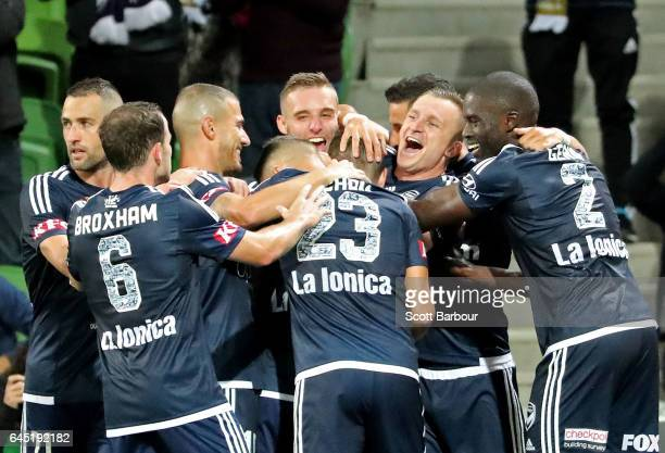 Marco Rojas of the Victory is congratulated by Besart Berisha and his teammates after scoring the first goal during the round 21 ALeague match...