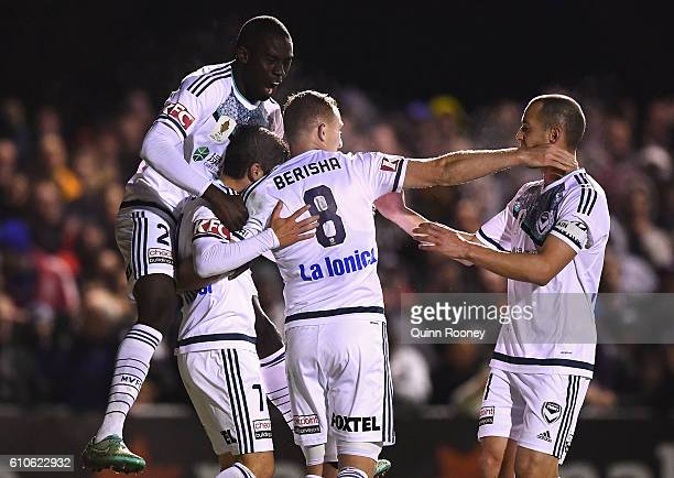 Marco Rojas of the Victory is congratulated by team mates after scoring a goal during the FFA Cup match between Bentleigh Greens and Melbourne...