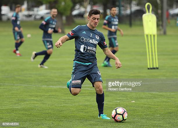 Marco Rojas of the Victory runs with the ball during a Melbourne Victory ALeague training session at Gosch's Paddock on December 14 2016 in Melbourne...