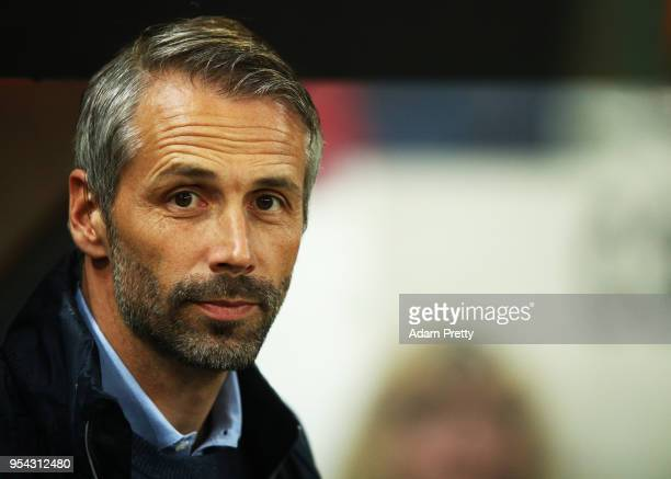 Marco Rose FC Red Bull Salzburg head coach looks on during the UEFA Europa Semi Final Second leg match between FC Red Bull Salzburg and Olympique de...