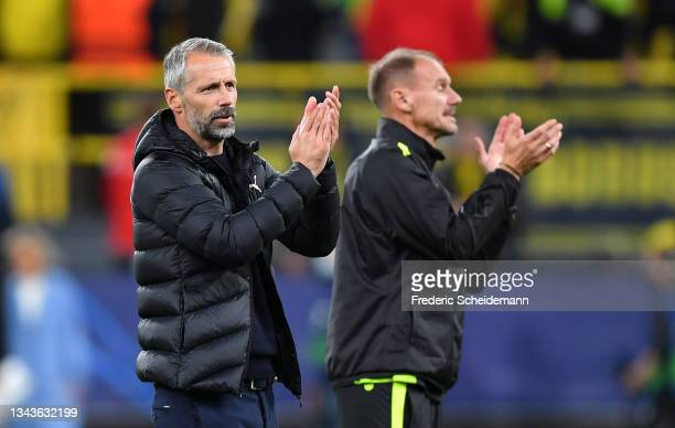 Marco Rose, Head Coach of Borussia Dortmund applauds the fans following victory in the UEFA Champions League group C match between Borussia Dortmund...