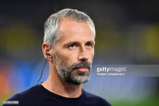 Marco Rose, Head Coach of Borussia Dortmund speaks during a pitch side interview prior to the UEFA Champions League group C match between Borussia...